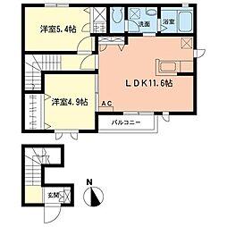 TAMURA壱番館B[2階]の間取り