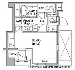 都営浅草線 宝町駅 徒歩8分の賃貸マンション 11階ワンルームの間取り