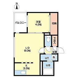 札幌市営南北線 北12条駅 徒歩8分の賃貸マンション 1階1LDKの間取り
