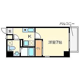 ラフォーレ東野田 8階1Kの間取り
