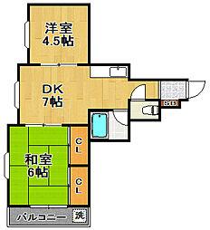 創建泉尾マンション[3階]の間取り
