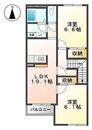 ピースフルK[2階]の間取り