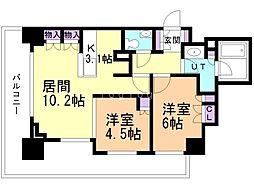 シティタワー札幌 21階2LDKの間取り
