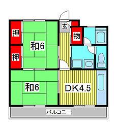 西青木第二マンション[2階]の間取り