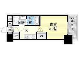 アドバンス新大阪ラシュレ 2階1Kの間取り