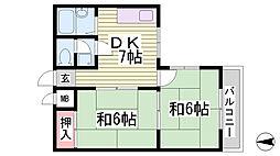 シャルム桜ケ丘[1B号室]の間取り
