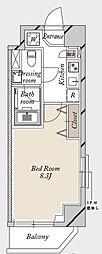 都営新宿線 森下駅 徒歩19分の賃貸マンション 2階1Kの間取り