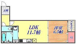 モダニズムイースト 1階1LDKの間取り