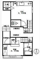 東京都渋谷区本町2丁目の賃貸マンションの間取り