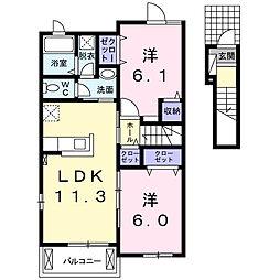 スペリオーレ 1階2LDKの間取り