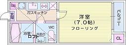 仙台市営南北線 泉中央駅 徒歩11分の賃貸アパート 2階1Kの間取り