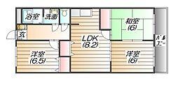 リバーコート三田[3階]の間取り