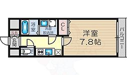 阪急神戸本線 十三駅 徒歩3分の賃貸マンション 13階1Kの間取り