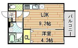 Casa di lapin(カーサ ドゥ ラパン)[3階]の間取り