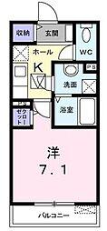 JR京浜東北・根岸線 本郷台駅 徒歩10分の賃貸アパート 2階1Kの間取り