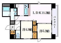 Z・R東別院 5階2LDKの間取り