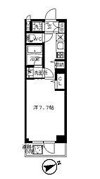 JR中央線 国分寺駅 徒歩6分の賃貸マンション 2階1Kの間取り