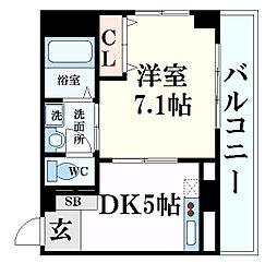 JR東海道・山陽本線 灘駅 徒歩3分の賃貸マンション 1階1DKの間取り