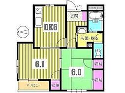 東京都八王子市散田町1丁目の賃貸アパートの間取り