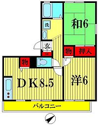 埼玉県越谷市東大沢1丁目の賃貸アパートの間取り