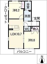 ラフィネ千代田B棟[2階]の間取り