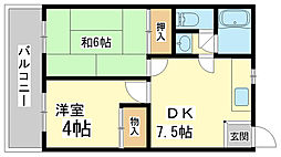 兵庫県神戸市長田区明泉寺2丁目の賃貸アパートの間取り