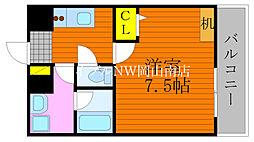 JR宇野線 大元駅 徒歩6分の賃貸マンション 7階1Kの間取り