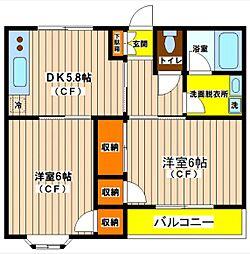 JR南武線 矢川駅 徒歩9分の賃貸マンション 2階2DKの間取り