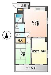 愛知県名古屋市中村区乾出町2丁目の賃貸マンションの間取り