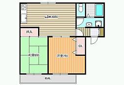 エクセルコーポ陵南A棟[2階]の間取り