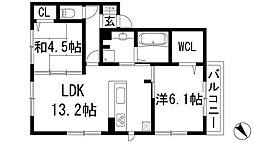 大阪府池田市五月丘2丁目の賃貸アパートの間取り