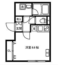 LEGALAND大岡山Annex 3階ワンルームの間取り