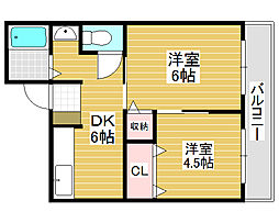 シェモア堺[1階]の間取り