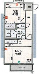 祇園山ヒルズ[3階]の間取り
