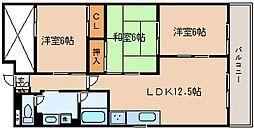 兵庫県神戸市長田区蓮宮通4丁目の賃貸マンションの間取り