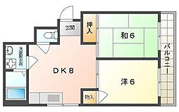 Osaka Metro長堀鶴見緑地線 門真南駅 徒歩19分の賃貸マンション 2階2DKの間取り