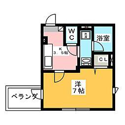 レアリゼ武蔵新城 2階1Kの間取り