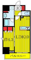ラティエラ板橋 10階1LDKの間取り