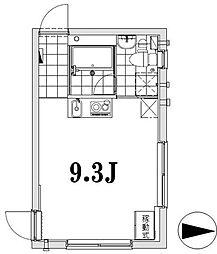 apartment KURO Sasazuka 2階ワンルームの間取り