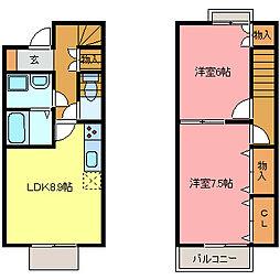 [テラスハウス] 愛知県半田市横川町3丁目 の賃貸【/】の間取り