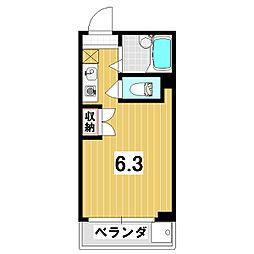 おうぎやマンション 2階ワンルームの間取り