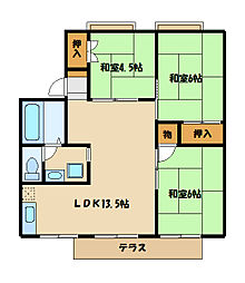 グランコート関山[2階]の間取り
