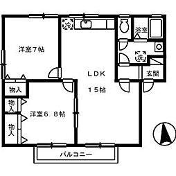 コスモタウン B棟[2階]の間取り