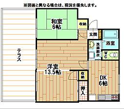 福岡県北九州市小倉南区下曽根4丁目の賃貸アパートの間取り