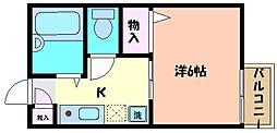 兵庫県神戸市東灘区住吉宮町6丁目の賃貸アパートの間取り