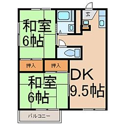 東京都西多摩郡瑞穂町南平2丁目の賃貸アパートの間取り