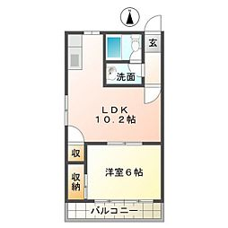 静岡県浜松市中区小豆餅2丁目の賃貸アパートの間取り