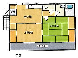 三輪アパート[2F号室]の間取り