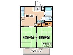 京都府京都市伏見区淀池上町の賃貸アパートの間取り