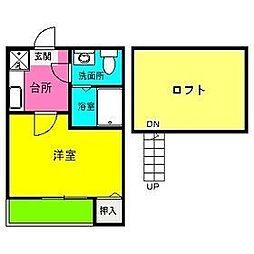 福岡県福岡市西区生の松原1丁目の賃貸アパートの間取り